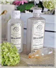 DIY::  Lovely Altered French Vintage Bottles Tutorial (with free printable from The Graphics Fairy)  by @Jennifer Milsaps L Zuri  The Town & Country Living