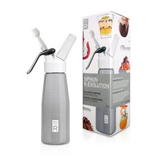 Siphon R-EVOLUTION Pack. This molecular gastronomy kit includes a culinary whipper, a trio of decorative nozzles, six N2O cartridges, 15 food additive sachets, and recipes to create creamy desserts, warm mousses, and inventive cocktails.