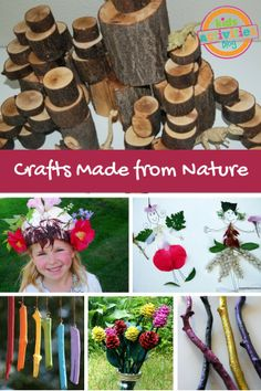 20 Crafts Made from Nature These crafts made from nature will add new meaning to your child's exploration of the outdoors. This round-up focuses on nature crafts. Nature Activities, Kids Learning Activities, Craft Activities, Indoor Activities, Summer Activities, Family Activities, Crafts To Make, Fun Crafts, Crafts For Kids