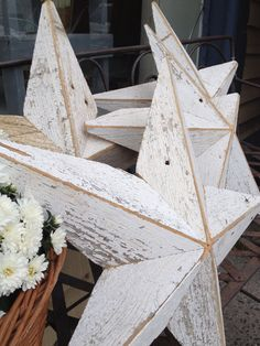 barn stars made from old pine planks in original white paint