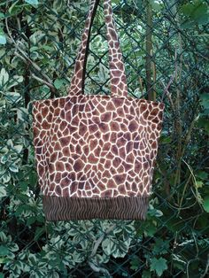 Medium Cotton Quilted Tote  Giraffe Skin by beeceequilts on Etsy, $25.00