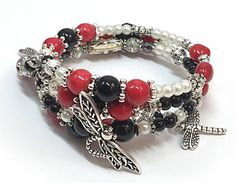 Red & Silver Bracelet Dragonfly Bracelet by TheaDesignConcepts