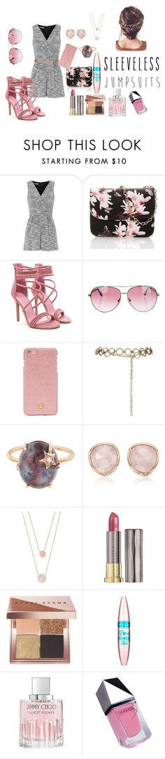 """Pink & Grey"" by newfoundlandlass ❤ liked on Polyvore featuring Topshop, Minnie Rose, Tory Burch, Andrea Fohrman, Monica Vinader, Michael Kors, Urban Decay, Bobbi Brown Cosmetics, Maybelline and Jimmy Choo"