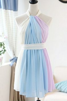 Contrast Shirred Chiffon Dress