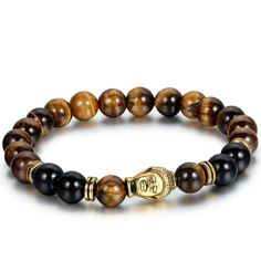 * Penny Deals * - Flongo Men's Brown Stone Beads Yoga Antique Silver Buddha Bracelets ** Check out this great product.