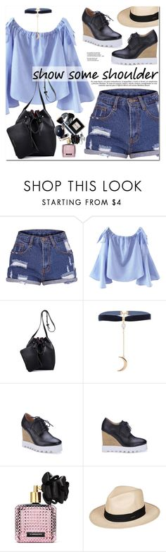 """""""Shimmy, Shimmy: Off-Shoulder Tops"""" by oshint ❤ liked on Polyvore featuring Victoria's Secret and Roxy"""