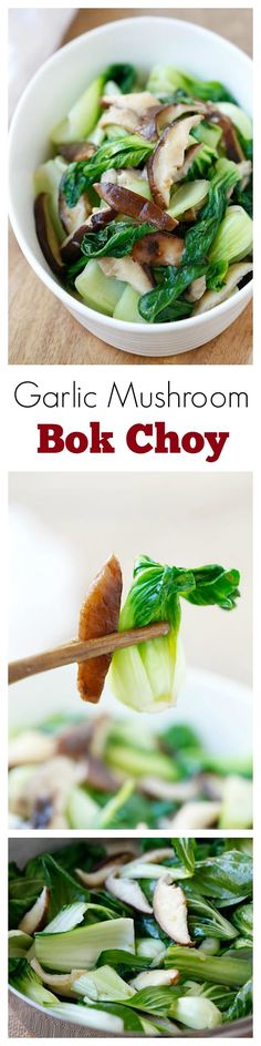arlic Mushroom Bok Choy – the easiest, healthiest, and best veggie dish with bok choy, mushroom and garlic. 3 ingredients & 10 minutes to make | rasamalaysia.com | #veggie
