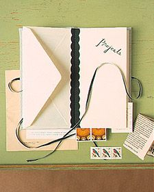 envelope books. every city you travel to you can put menus, pamphlets, ticket stubs, toll receipts...