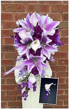 2pc-wedding-flowers-Cascade-Bridal-bouquet-Boutonniere-Lavdender-Purple-White
