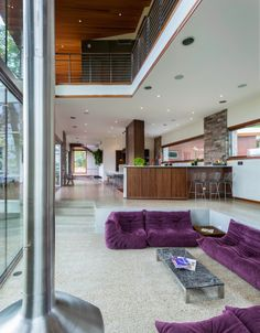 Architecture, Fantastic Purple Togo Sofa Furniture In Modern Architect House Designs: Architect House Designs for a Stunning House by the La...
