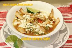 Chicken Tortilla Soup! Recipe Soups, Main Dishes with sour cream, cream, cilantro, jalapeno chilies, lime juice, boneless skinless chicken breasts, olive oil spray, corn tortillas, sweet onion, green bell pepper, jalapeno chilies, garlic, cumin, chili powder, cilantro, black beans, corn, rice, chicken broth, diced tomatoes, salt, pepper, chees fresco queso