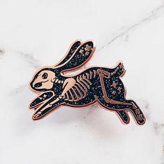 Skeleton Rabbit Hard Enamel Pin Glitter Pin Spooky