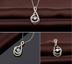 Sparkling 925 Sterling Silver Necklace, Micro Pave Zirconia and 18K Gold Plated Drop Pendant with AAA Zircon
