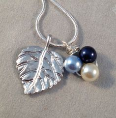 Simple fall necklace leaf charm necklace silver pearl by jochec