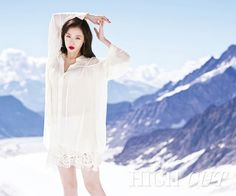 Sulli has turned into a glowing princess for 'High Cut' magazine. For her latest photo shoot, Sulli traveled to Switzerland and port… Krystal Sulli, Choi Jin, Korean Actresses, High Cut, White Fashion, Girl Crushes, Kpop Girls, Fashion Models, Tie Dye