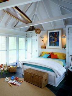 We have two attic bedrooms with sloped ceilings like this.  I want to install beams similar to this room's for extra storage or decor!