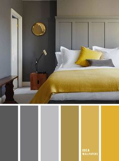 10 Best Color Schemes for Your Bedroom { Blue Grey + Mustard } With gold accents - mustard color bedroom, grey color palette, colour palette color colorpalette bedroom 849069335979820978 Grey And Gold Bedroom, Gold Bedroom Decor, Blue Bedroom, Diy Bedroom, Grey Walls, Grey Bedroom With Wallpaper, Bedroom Ideas, Bedroom Wall, Color Palette For Home