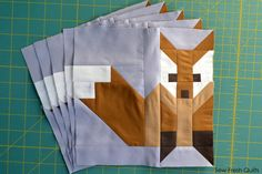 Light Brown and Medium Brown Deer quilt blocks finish at x Welcome back to another Let's Bee Social! Where did the week GO? Paper Piecing Patterns, Quilt Block Patterns, Pattern Blocks, Quilt Blocks, Quilting Tutorials, Quilting Projects, Quilting Designs, Fox Quilt, Quilt Modernen