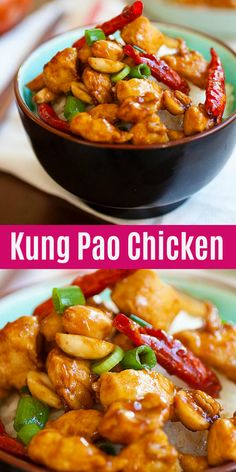 Kung Pao Chicken Kung Pao Chicken,Asian Food Kung Pao Chicken is a Chinese takeout classic loaded with spicy chicken, peanuts, vegetables in a mouthwatering Kung Pao sauce. This easy homemade recipe is healthy, low. Easy Homemade Recipes, Easy Delicious Recipes, Healthy Dinner Recipes, Cooking Recipes, Tasty, Chinese Chicken Recipes, Healthy Chicken Recipes, Asian Recipes, Homemade Chinese Food