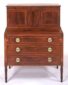 A Fine Massachusetts Federal Mahogany Inlaid Secretary, circa 1800 SOLD | Chicora Antiques