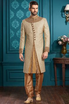 Beige Stone Embroidered Silk Wedding Sherwani-SH416