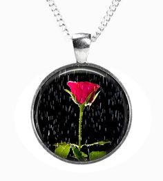 RED ROSE in the RAIN - Glass Picture Pendant on Chain - Silver Plated (Art Print Photo P12) by RosettaLondon on Etsy