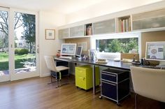 Desk For Two Design, roll out carts, shelves above - screen could be flanked by pin boards or wall organizers