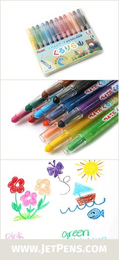 Kururira Twist Crayons come in clear plastic bodies that keep young artists' hands cleaner and protect the crayons against breakage.