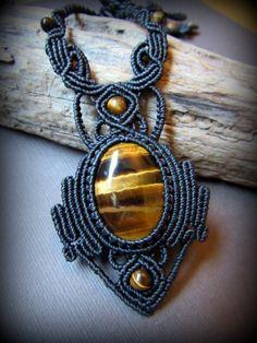 画像2: 自己実現の天然石★大ぶりタイガーアイのハンドメイド手編みネックレス*マクラメ