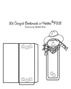 Cowgirl bookmark with envelope holder template I made