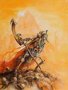 Warhammer Tomb Kings, Warhammer Art, Warhammer 40000, Egypt Design, Warhammer Fantasy Roleplay, Fantasy Sword, Sword And Sorcery, Necromancer, Egyptian Art
