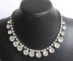 Large #Crystal Stones #Choker Necklace Headlight Stones #Wedding Prom Vintage
