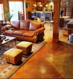 Stained concrete floors for the basement....what a beautiful idea!
