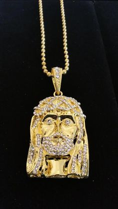 Micro jesus piece pendant gold jesus piece jesus face and pendants 18k gold plated jesus piece bling bling pendant with free ball chain aloadofball Images