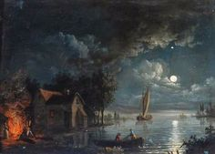 'River Scene with a Bonfire, Moonlight.'