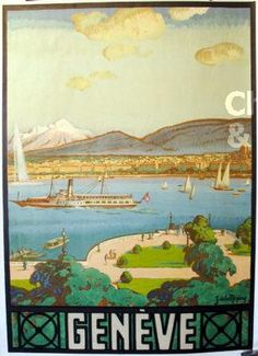 """1926 Extraordinary view of the """"rade de Genève"""" and the Lake of Geneva, with the water fountain and the Mont-Blanc in the background. This very precise view was drawn from a window of the Hôtel d'Angleterre in 1926 Geneve, Swiss vintage travel poster Vintage Travel Posters, Vintage World Maps, Contemporary Art Gallery, Finland Travel, Tourism Poster, Retro Poster, Art Deco Posters, Stock Art, Advertising Poster"""