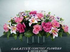 Double  Memorial Cemetery Flower Headstone/Tombstone Saddle Grave Decoration