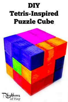 This DIY Tetris-Inspired Puzzle Cube is the perfect gift for both kids and adults. Anyone can exercise their geometric and spatial thinking by experimenting with this puzzle's pieces. DIY Project | Puzzle | Tetris | STEM | STEAM