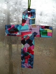 """stained glass"" cross with tissue paper"