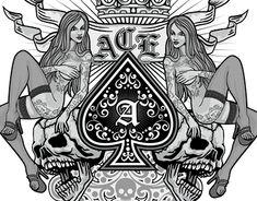 Pin Up Tattoos, Girl Tattoos, Sakimichan Art, Font Art, Ace Of Spades, Tattoo Fonts, Cool Posters, Skull Art, Chicano