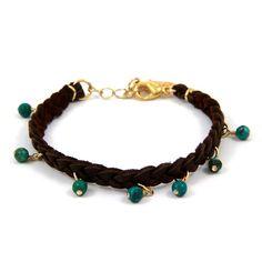 Custom Braided Leather Bracelet with Semi Precious Stones
