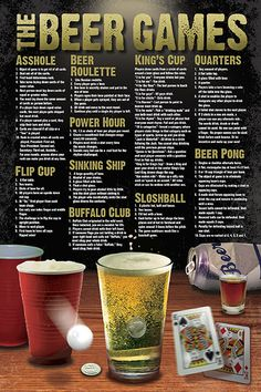 Beer Games Drinking College Fun Poster - Drinking games for parties - Beer Drinking Games, Beer Games, Drinking Games For Parties, Adult Drinking Games, College Drinking Games, Outdoor Drinking Games, College Drinks, Drunk Games, Kings Cup Drinking Game