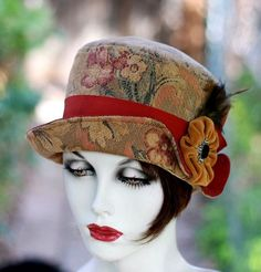 Womens Hat Vintage Edwardian Style Bohemian BohoFeathers TapestryPrint Fabric  Size Small on Etsy, $155.00