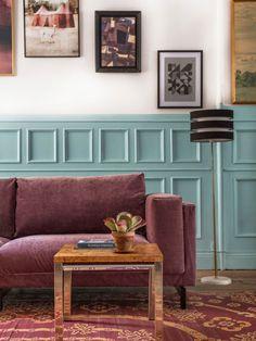 Über bemz.com könnt ihr neue maßgeschneiderte Bezüge für euer IKEA-Sofa bekommen. 2017 ist auch Samt wieder im Trend: hier der Bezug Zaragoza Vintage Velvet von bemz.com und romo.com.