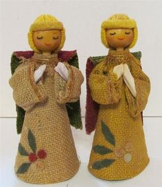 Burlap Angel Two Angels Christmas Theme Choir Wood Heads Yarn Hair Green Red New | eBay