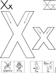 Alphabet Letter X Worksheet Alphabet Writing, Preschool Writing, Preschool Letters, Alphabet Worksheets, Preschool Printables, Alphabet Activities, Preschool Worksheets, Preschool Learning, In Kindergarten