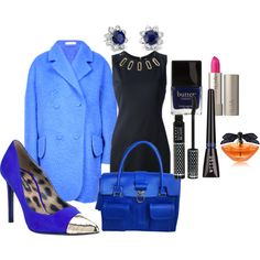 Our new #cobalt #blue Christy #Tote #handbag as styled via #Polyvore, love this look!!