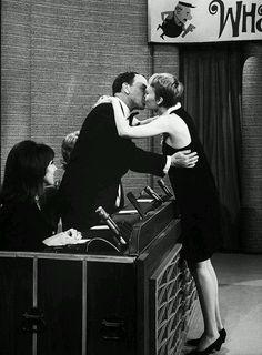 Frank Sinatra and Mia Farrow kiss across the panel on What's My Line, 1967 What's My Line, Line Tv, Maureen O'sullivan, Joey Bishop, Mike Love, A Fine Romance, Nancy Sinatra, Mia Farrow, Humphrey Bogart
