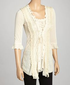 Love this Caramel Lace-Trim Silk-Blend Tunic by Pretty Angel on #zulily! #zulilyfinds
