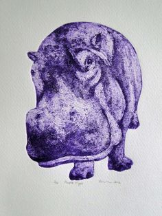 collagraph prints | Purple Hippo Limited Edition Collagraph Print - Folksy